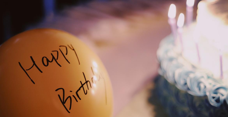 birthday balloon and cake